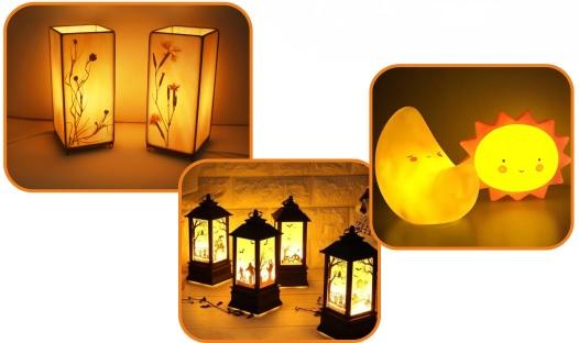 Теплый свет лампы в светильнике