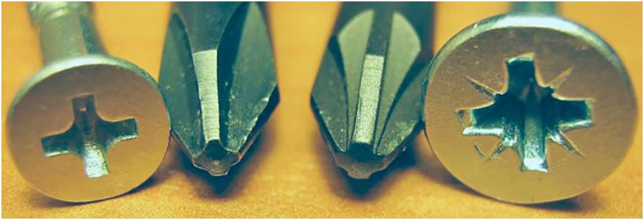 Крестовая отвёртка со шлицом PH и PZ